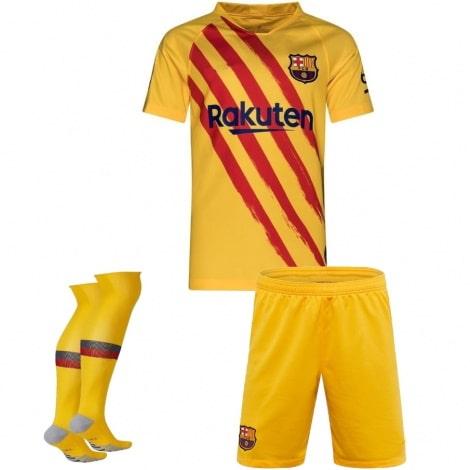 Комплект детской четвертой формы Барселоны 2019-2020 футболка шорты и гетры