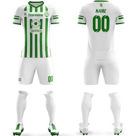 Футбольная форма бело зеленого цвета в полоску на заказ