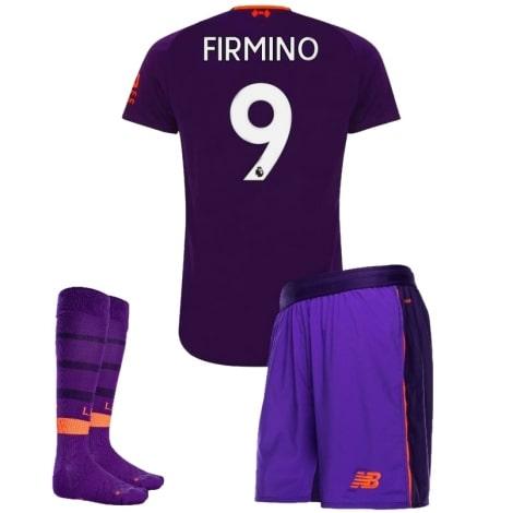 Детская гостевая футбольная форма Роберто Фирмино номер 9  2018-2019 футболка шорты и гетры