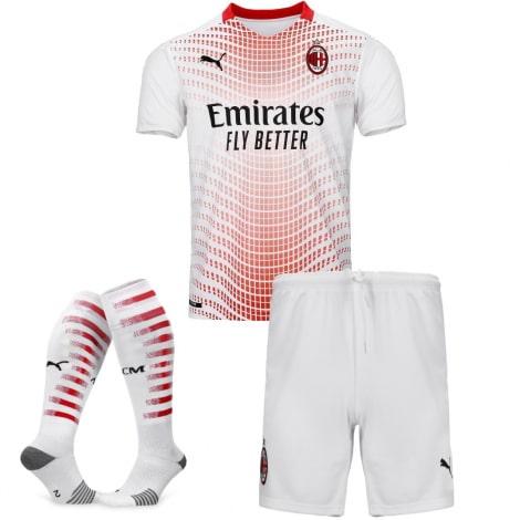 Детская гостевая футбольная форма Милан 2020-2021 футболка шорты и гетры