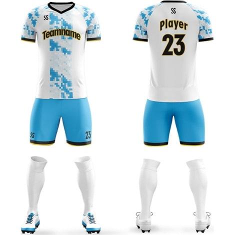 Футбольная форма бело голубого цвета пиксели на заказ
