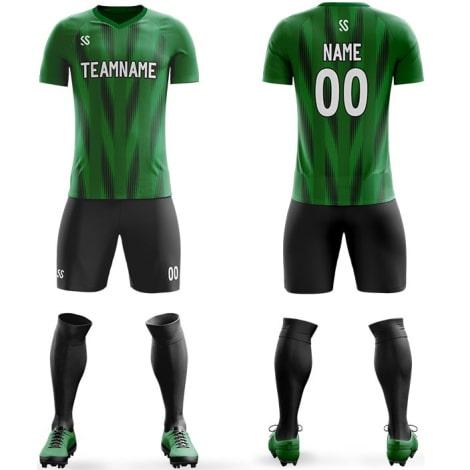 Футбольная форма черно зеленого цвета стрелочки на заказ