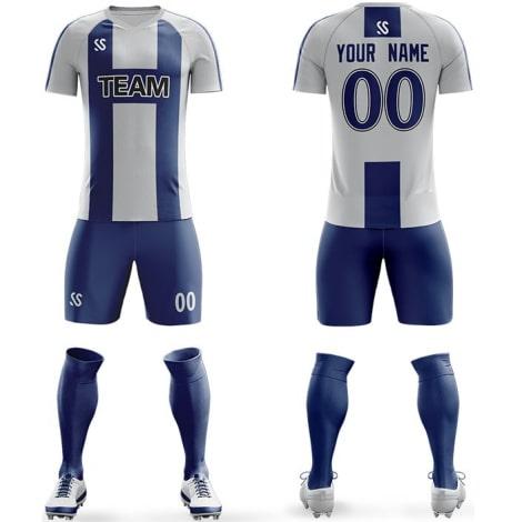 Футбольная форма сине белого цвета Буква H на заказ