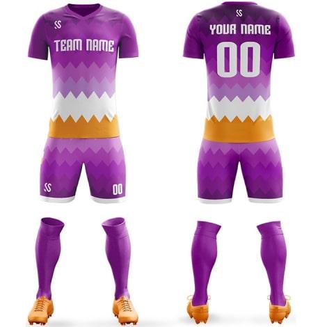 Футбольная форма фиолетово бело желтого цвета Острые волны