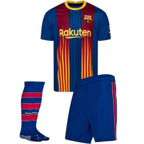 Комплект детской четвертой формы Барселоны 2020-2021 футболка шорты и гетры