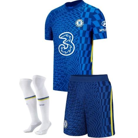 Комплект детской домашней формы Челси 2021-2022 футболка шорты и гетры