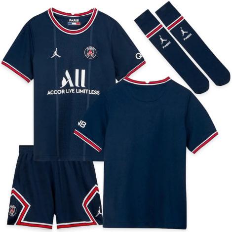 Комплект детской домашней формы ПСЖ 2021-2022 футболка шорты и гетры