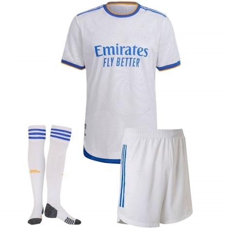 Детский комплект домашней формы Реал Мадрид 2021-2022 футболка шорты и гетры Серхио Рамос