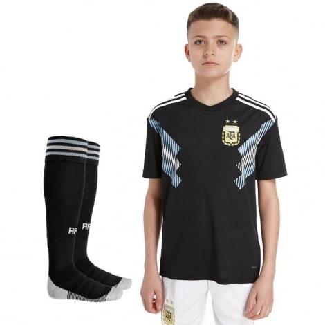 Детская гостевая футбольная форма Аргентины на ЧМ 2018 футболка шорты и гетры