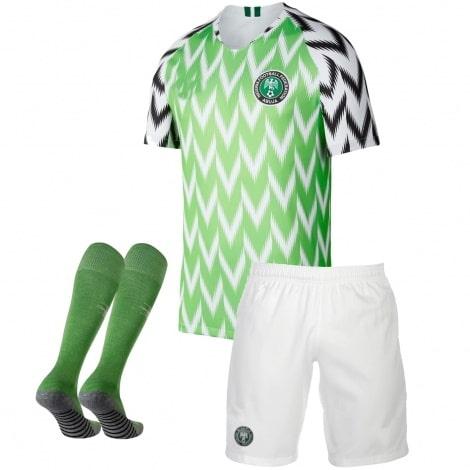 Комплект детской домашней формы Нигерии ЧМ 2018 футболка шорты и гетры