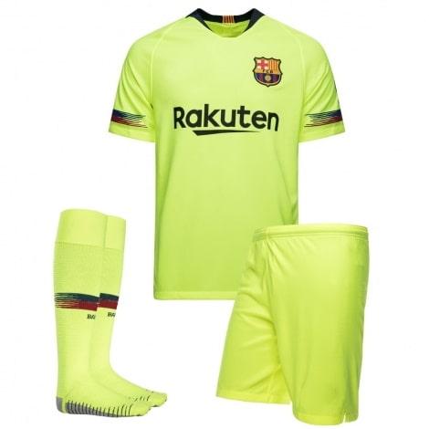 Комплект детской гостевой формы Барселоны 2018-2019 футболка шорты и гетры