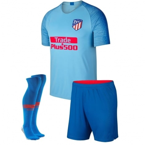 Детский комплект гостевой формы Атлетико 2018-2019 футболка шортыи гетры