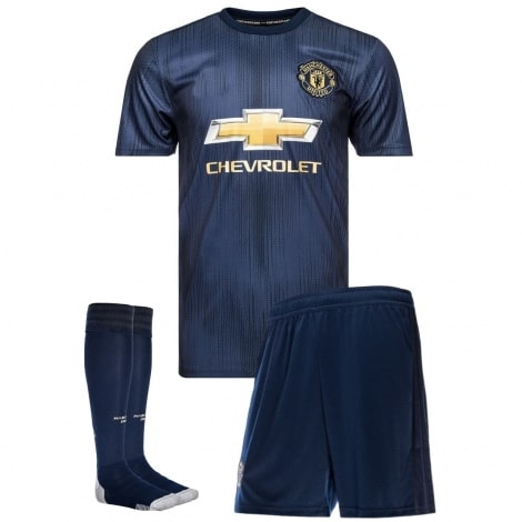 Детская третья форма Манчестер Юнайтед 2018-2019 футболка шорты и гетры
