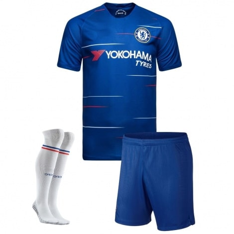 Комплект детской домашней формы Челси 2018-2019 футболка шорты и гетры