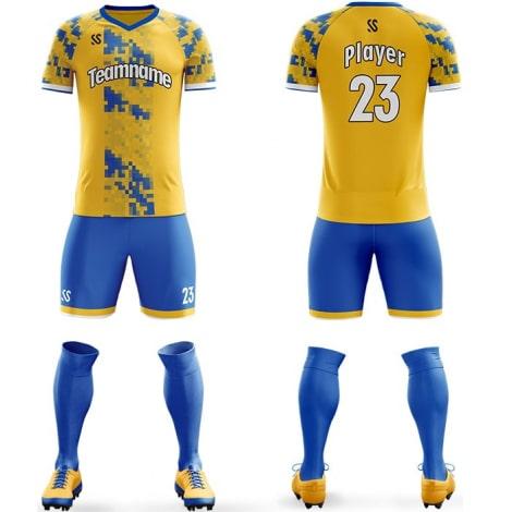 Футбольная форма сине желтого цвета пиксели на заказ