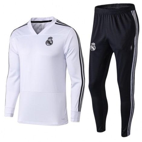 Взрослый бело-черный костюм Реал Мадрид 18-19 кофта и штаны