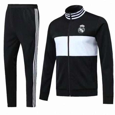 Взрослый черный костюм Реал Мадрид 18-19 кофта и штаны