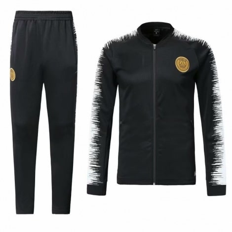 Взрослый черно-белый костюм ПСЖ 18-19 кофта и штаны