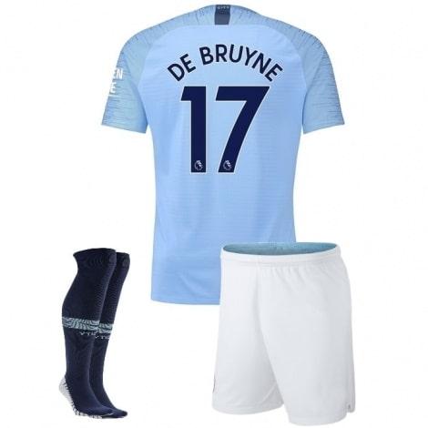 Детская домашняя футбольная форма Де Брёйне 2018-2019 футболка шорты и гетры