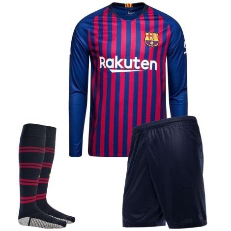 Детская домашняя форма Барселоны 18-19 c длинными рукавами