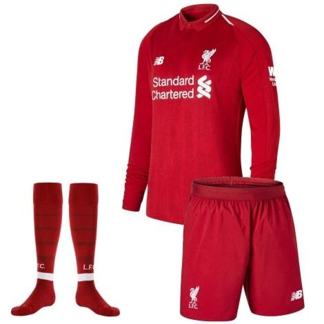Детская домашняя форма Ливерпуля 18-19 c длинными рукавами футболка шорты и гетры