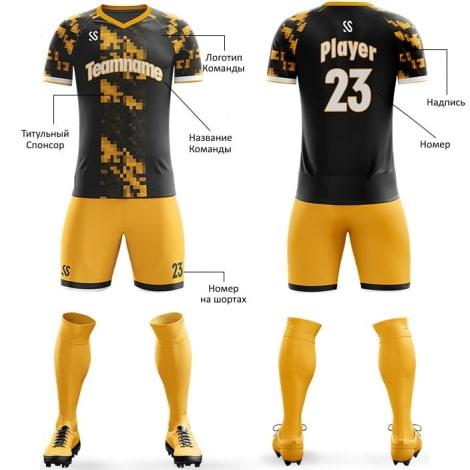 Футбольная форма черно желтого цвета пиксели на заказ