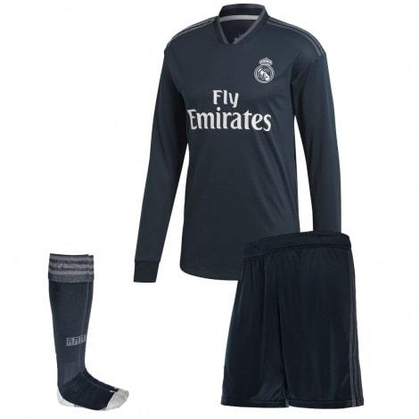Взрослая гостевая форма Реал Мадрид 18-19 c длинными рукавами футболка шорты и гетры