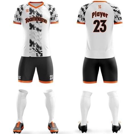 Футбольная форма бело черного цвета пиксели на заказ