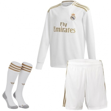 Детская домашняя форма Реал Мадрид 19-20 c длинными рукавами футболка шорты и гетры