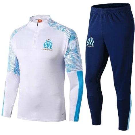 Взрослый бело-синий тренировочный костюм Марселя 2019-2020