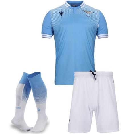 Комплект детской домашней формы Лацио 2020-2021 футболка шорты и гетры