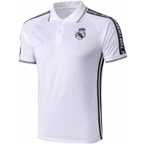 Футболка поло Реал Мадрид бело-черная 2019-2020