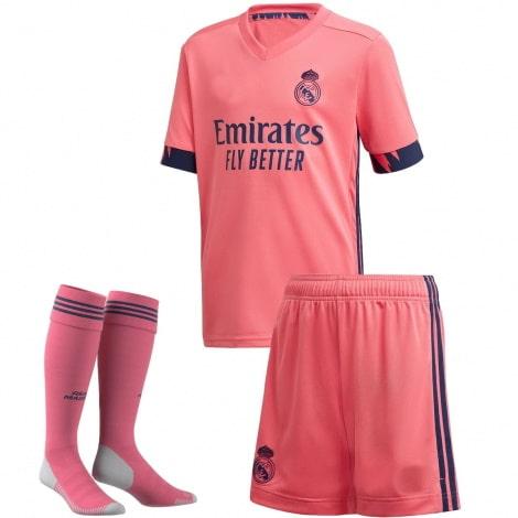 Детский комплект гостевой формы Реал Мадрид 2020-2021 футболка шорты и гетры