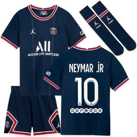 Детская домашняя футбольная форма Неймар 2021-2022 футболка шорыт и гетры