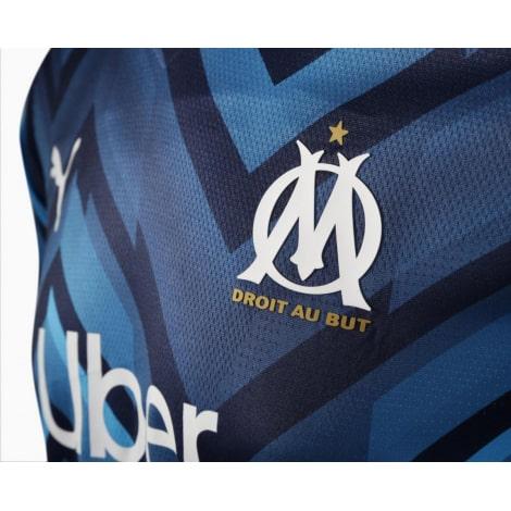Гостевая игровая футболка Марселя 2021-2022 логотипы