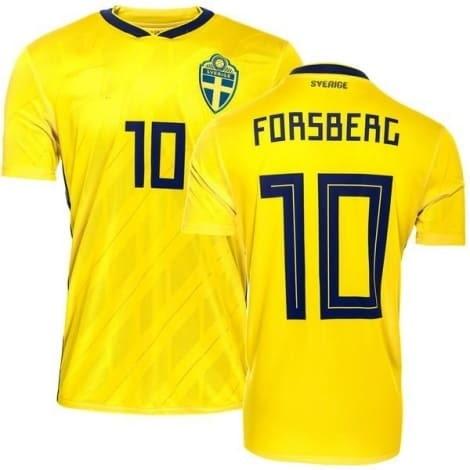 Домашняя футболка Швеции на ЧМ 2018 Форсберг номер 10