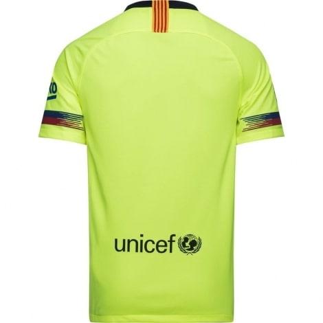 Гостевая игровая футболка Барселоны 2018-2019 сзади