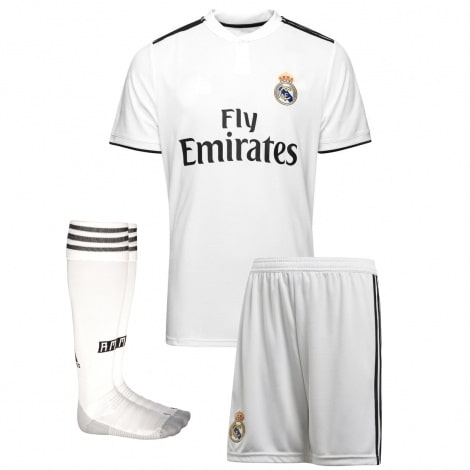 Детская домашняя футбольная форма Марсело 2018-2019 футболка шорты и гетры спереди