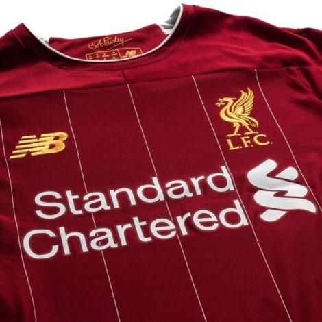 Детская домашняя форма Ливерпуля 19-20 c длинными рукавами титульный спонсор