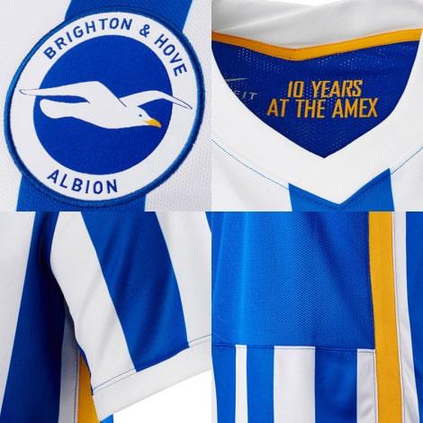 Домашняя игровая футболка Брайтон энд Хоув Альбион 2021-2022 логотипы