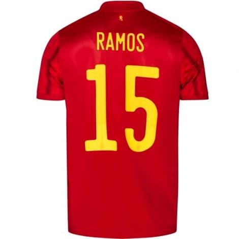 Детская домашняя форма Испании Серхио Рамос на ЕВРО 2020 футболка сзади
