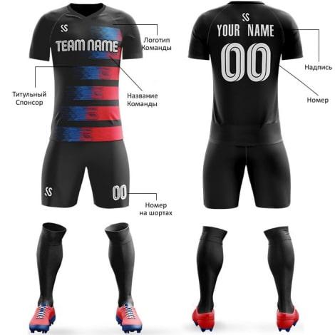 Футбольная форма черно сине красного цвета Флаги на заказ