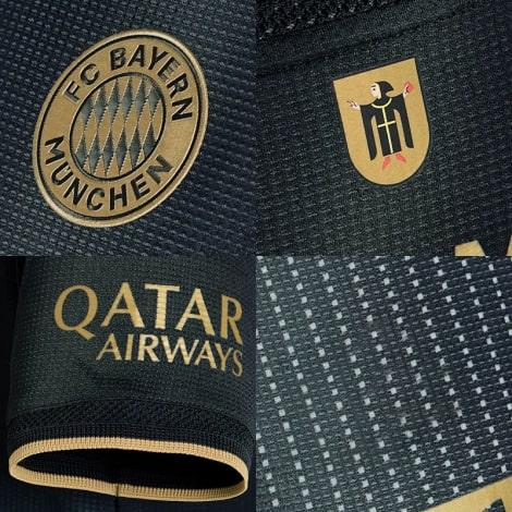 Гостевая игровая футболка Баварии 2021-2022 логотипы