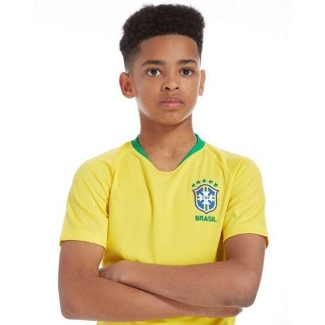 Домашний комплект детской формы Бразилии на ЧМ 2018 желтая футболка
