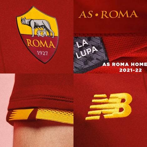 Домашняя аутентичная футболка Ромы 2021-2022 логотипы