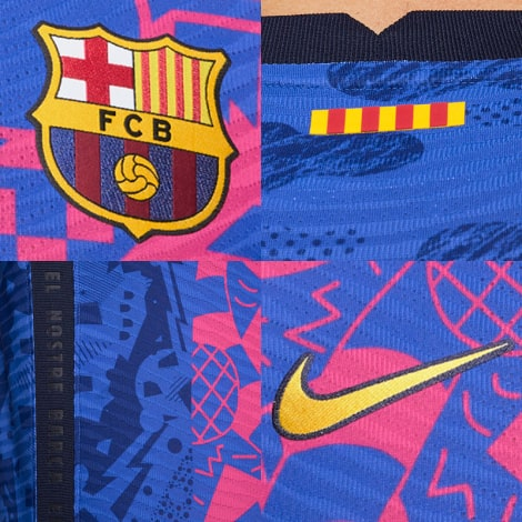 Третья аутентичная футболка Барселоны 2021-2022 логотипы