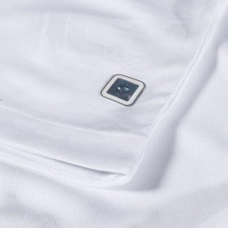 Гостевая игровая футболка Лион 2018-2019 воротник вблизи