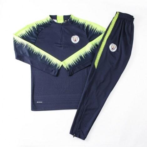 Взрослый сине-зеленый костюм Манчестер Сити 18-19 кофта и штаны