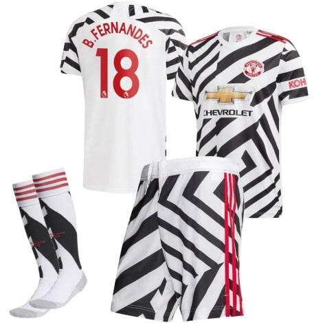 Детская третья форма Ман Юнайтед Бруну Фернандеш 2020-2021 футболка шорыты и гетры