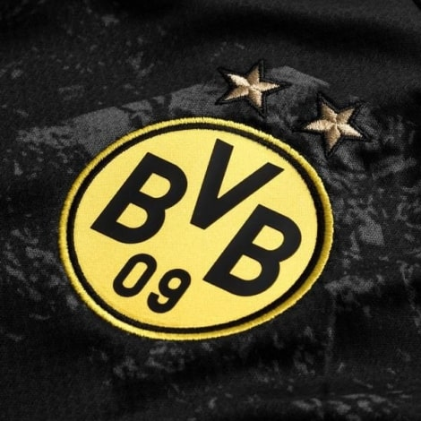 Гостевая игровая футболка Боруссии Дортмунд 2019-2020 герб клуба